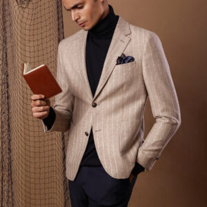 The beige and cream striped jacket crafted of wool