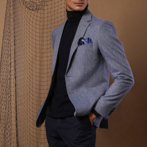 The baby blue notch lapel jacket crafted of wool fabrics