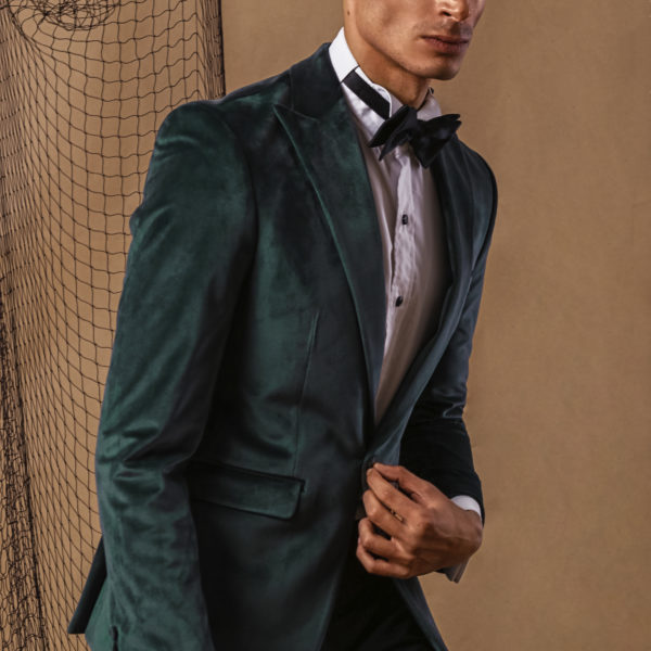 Khaki green velvet jacket